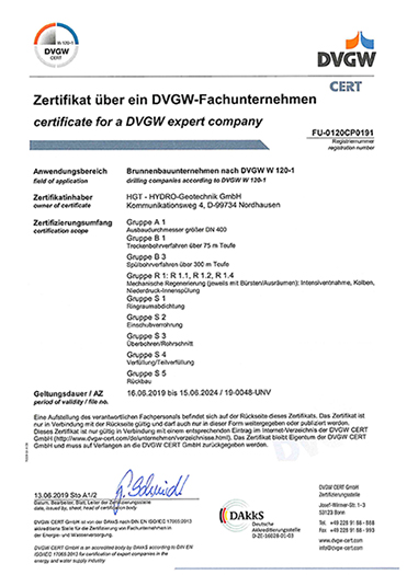 Zertifikat - DVGW-Fachunternehmen